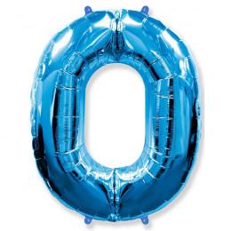 Шар-цифра 0 синяя с гелием