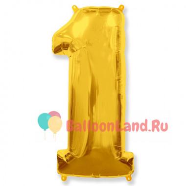 Шар-цифра 1 золото с гелием