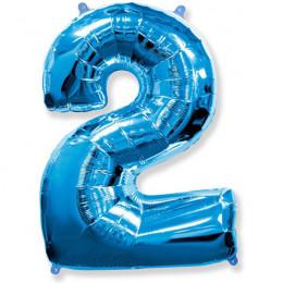 Шар-цифра 2 синяя с гелием