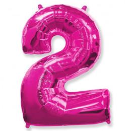 Шар-цифра 2 розовая с гелием