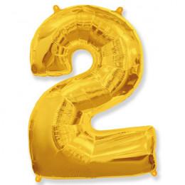 Шар-цифра 2 золото с гелием