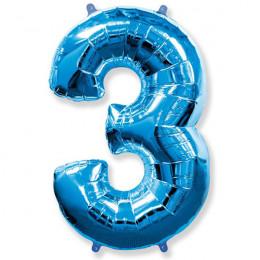 Шар-цифра 3 синяя с гелием