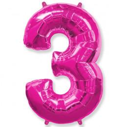 Шар-цифра 3 розовая с гелием