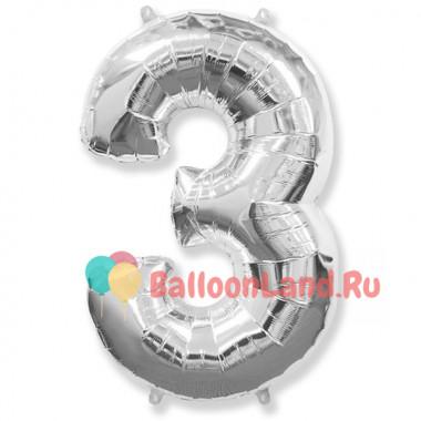 Шар-цифра 3 серебро с гелием