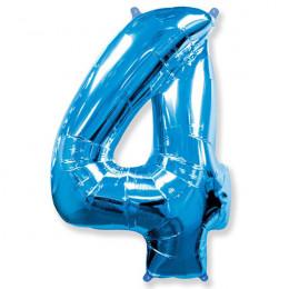 Шар-цифра 4 синяя с гелием