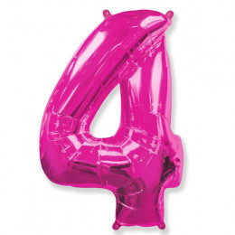 Шар-цифра 4 розовая с гелием