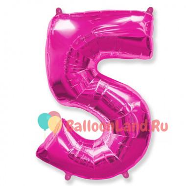 Шар-цифра 5 розовая с гелием