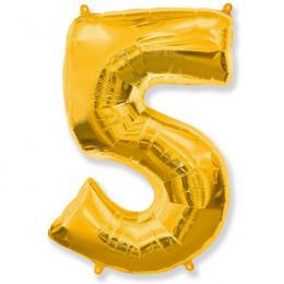 Шар-цифра 5 золото с гелием