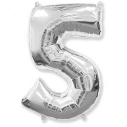 Шар-цифра 5 серебро с гелием