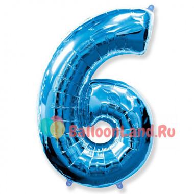 Шар-цифра 6 синяя с гелием