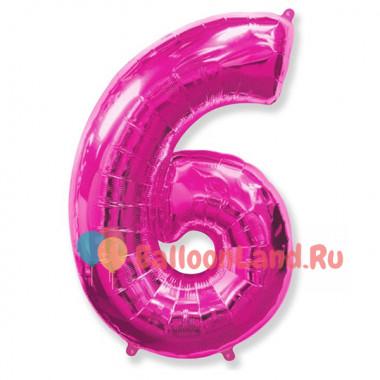 Шар-цифра 6 розовая с гелием