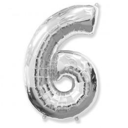 Шар-цифра 6 серебро с гелием