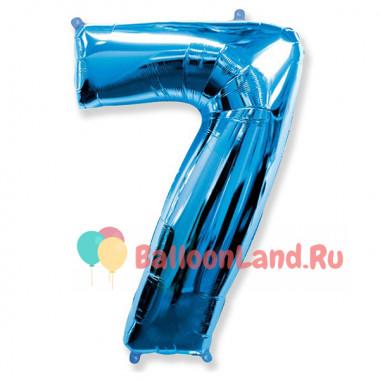 Шар-цифра 7 синяя с гелием