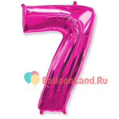 Шар-цифра 7 розовая с гелием