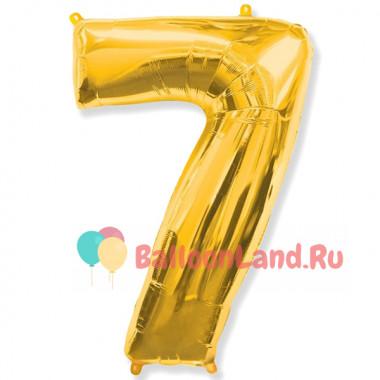 Шар-цифра 7 золото с гелием