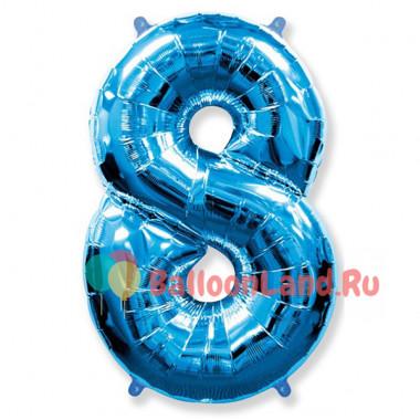 Шар-цифра 8 синяя с гелием