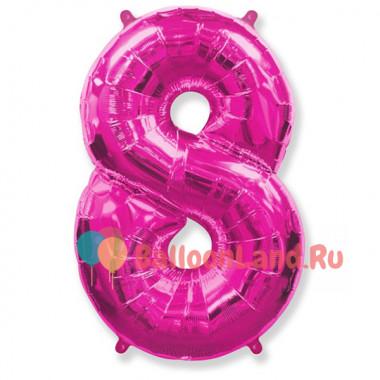 Шар-цифра 8 розовая с гелием