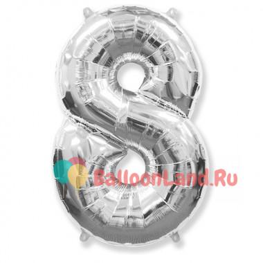 Шар-цифра 8 серебро с гелием