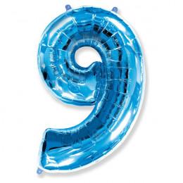 Шар-цифра 9 синяя с гелием