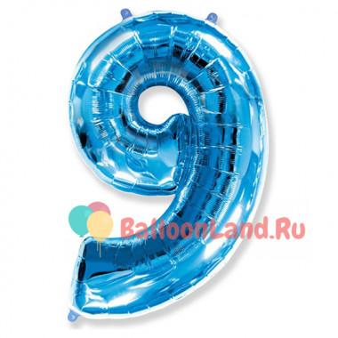 Шар-цифра 9 голубая с гелием