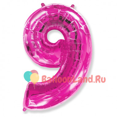 Шар-цифра 9 розовая с гелием