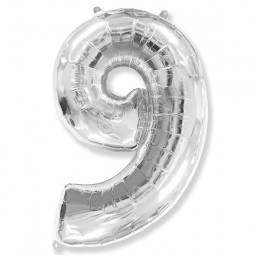 Шар-цифра 9 серебро с гелием