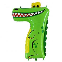 Шар-цифра 7 Крокодил с гелием