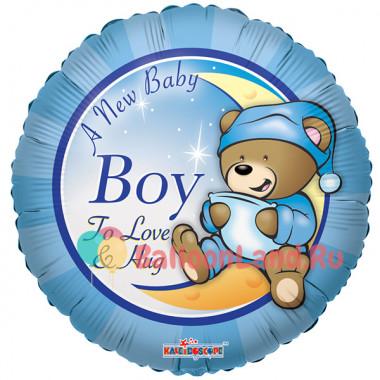 Воздушный шар 'Мишка Тэдди для мальчика' с гелием, круг