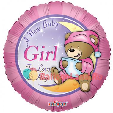 Воздушный шар 'Мишка Тэдди для девочки' с гелием, круг