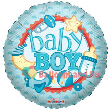 Воздушный шар 'Baby Boy' с гелием, круг