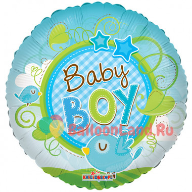 Воздушный шар 'Птичка Baby Boy' с гелием, круг