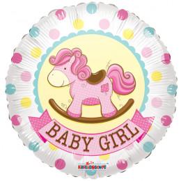 Воздушный шар Лошадка-качалка розовая  с гелием, круг