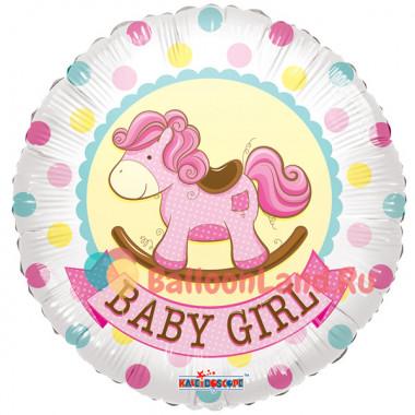 Воздушный шар 'Лошадка-качалка розовая ' с гелием, круг