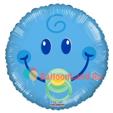Воздушный шар 'Смайл-малыш' с гелием, круг