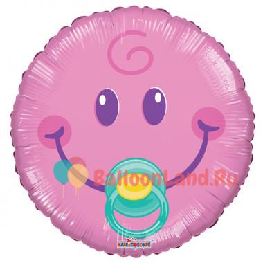 Воздушный шар Смайл-малышка с гелием, круг