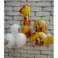 Композиция из гелевых шаров на День Знаний с цифрой на 1 сентября