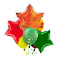 Букет из шаров на День Знаний с кленовым листом и звездами
