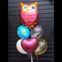 Фонтан из шаров с гелием на 1 сентября с шаром совой и сердцем