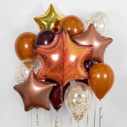 Набор воздушных шаров с кленовым листом на 1 сентября