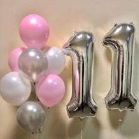 Композиция из гелиевых шариков для девочки на одиннадцать лет