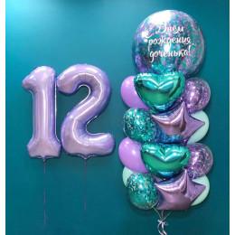 Композиция из шаров с большим шаром с конфетти с вашим текстом на 12 лет дочке