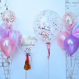 Набор гелевых шариков с шаром с конфетти и шаром с перьями на 15 лет дочке