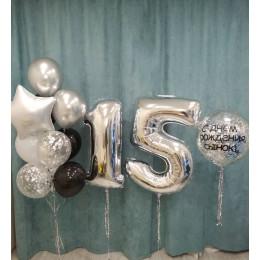 Композиция из шариков с большим шаром с конфетти на 15 лет сыну