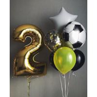 Сет из шаров с футбольным мячом на два года мальчику