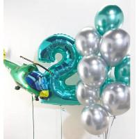 Композиция из гелиевых шариков хром на 2 года с вертолетом