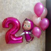 Сет из шариков с гелием в розовом цвете с мультперсонажем Маша