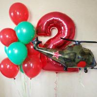 Композиция из гелевых шаров на два годика с военным вертолетом