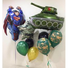 Композиция из воздушных шаров Моему Супергерою к 23 февраля