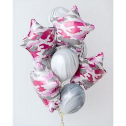 Букет шариков с гелием с агатами и розовыми камуфляжными звездами