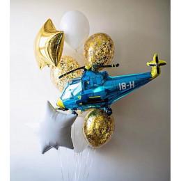 Букет из шаров с гелием с вертолетом на День Защитника Отечества
